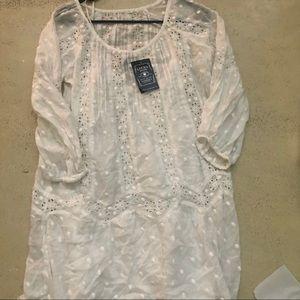 Lucky Brand Women's White Swiss Dot & Lace Dress